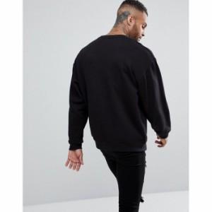 エイソス メンズ パーカー・トレーナー ブラック ASOS Oversized Sweatshirt In Black(1157872)