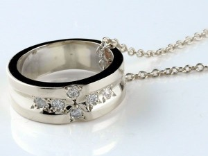 ネックレス ペアネックレス クロスリング ダイヤモンド イエローゴールドk18 ホワイトゴールドk18 ダイヤ リングネックレス チェーン 人