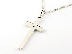 ネックレス18金 レディース ブルームーン クロス ホワイトゴールドk18 ペンダント 十字架 シンプル 地金 人気 6月の誕生石女性用