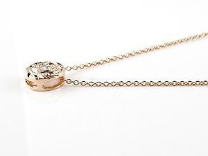 ネックレス ペアネックレス ペアペンダント ハワイアンジュエリー ダイヤモンド ピンクゴールドk18 プチネックレス マイレ ミル打ちデザ