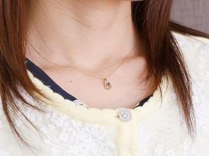 ネックレス 誕生石 アイオライト ダイヤモンド イエローゴールド ペンダント ティアドロップ チェーン 人気 k18 レディース 女性用