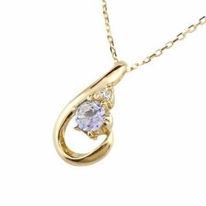 ネックレス 誕生石 タンザナイト ダイヤモンド イエローゴールド ペンダント ティアドロップ チェーン 人気 12月誕生石 k18 レディース