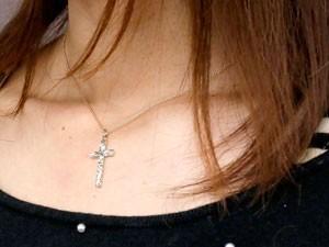 プラチナ ネックレス ハワイアンジュエリー クロス アクアマリン ペンダント 十字架 チェーン 人気 3月誕生石 pt900