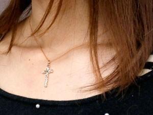 ネックレス ハワイアンジュエリー クロス ペリドット ピンクゴールドk10 ペンダント 十字架 チェーン 人気 8月誕生石 10金 レディース 女