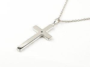 ネックレス ハワイアンジュエリー クロス ピンクサファイア ホワイトゴールドk18 ペンダント 十字架 チェーン 人気 9月誕生石 18金