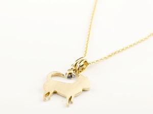 ネックレス 犬 アイオライト 一粒 ペンダント チワワ イエローゴールドk10 10金 いぬ イヌ 犬モチーフ チェーン 人気
