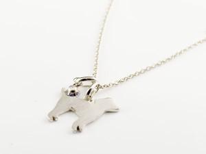 ネックレス 誕生石 犬 アメジスト 一粒 ペンダント プードル トイプー ホワイトゴールドk10 10金 いぬ イヌ 犬モチーフ 2月誕生石 チェー