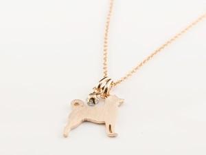 ネックレス 誕生石 犬 ダイヤモンド 一粒 ペンダント 柴犬 ピンクゴールドk18 18金 いぬ イヌ 犬モチーフ 4月誕生石 チェーン 人気