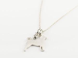 プラチナ ネックレス 誕生石 犬 ダイヤモンド 一粒 ペンダント 柴犬 いぬ イヌ 犬モチーフ 4月誕生石 チェーン 人気 Xmas