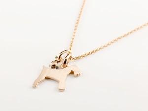 ネックレス 誕生石 犬 ブルーサファイア 一粒 ペンダント シュナウザー テリア系 ピンクゴールドk18 18金 いぬ イヌ 犬モチーフ 9月誕生
