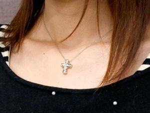 ネックレス ペアネックレス ペアペンダント ハワイアンジュエリー ホワイトゴールドk18 クロス ペンダント 十字架 地金 18金 チェーン 人