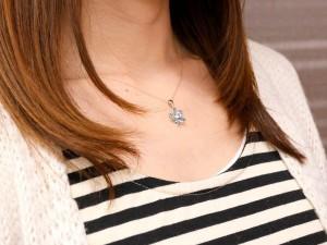 ネックレス 誕生石 アメジスト ピンクゴールドk18 フラワー ダイヤモンド ペンダント 花 チェーン 人気 2月誕生石 レディース 18金 女性