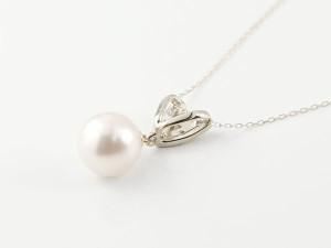 ネックレス パールネックレス 真珠ホワイトゴールドk18 エメラルド ダイヤモンド ペンダント チェーン 人気 6月誕生石 18金 レディース