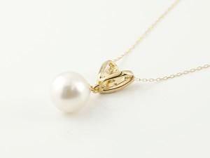 ネックレス パールネックレス 真珠  イエローゴールドk18ネックレス ダイヤモンド ペンダント チェーン 人気 6月誕生石 18金 レディース