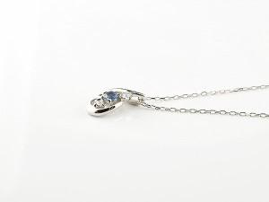 ネックレス ダイヤモンド ティアドロップ サファイア シルバー 1月誕生石 チェーン sv925 人気 ダイヤ