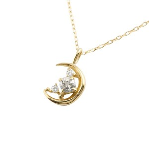 ネックレス ダイヤモンド 三日月 イエローゴールドk10 4月誕生石 チェーン k10 10金 人気 ダイヤ レディース 女性用