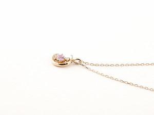 ネックレス ダイヤモンド 三日月 ピンクサファイア ピンクゴールドk18 9月誕生石 チェーン k18 18金 人気 ダイヤ レディース 女性用 Xmas