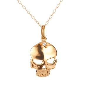 ネックレス ダイヤモンド 一粒 ピンクゴールドk18 ダイヤ ペンダント ドクロ スカル髑髏 k18 18金 レディース チェーン 人気 女性用