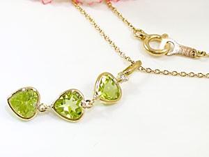 ネックレスペリドット ダイヤモンド イエローゴールドK18 ハート スリーストーン チェーン 人気 18金 ダイヤ レディース 女性用