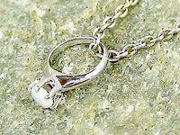 ネックレス 誕生石 ベビーリングオパールホワイトゴールドK18 チェーン 人気 18金 18k ストレート 立爪 レディース 女性用