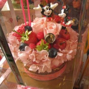 結婚祝い フラワーケーキ ディズニー フラワーギフト フラワーケーキ プリザーブドフラワー入り ケース付き ノーマル ミッキー ミニー