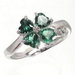 【送料無料】四つ葉のクローバー グリーンクォーツ ダイヤモンドリング 0.04ct プラチナ900(PT900) 小指 ピンキーリング ミディリング