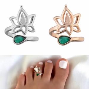 [メンズ レディース 足の指 指輪 ファランジリング] ロータスフラワードロップ トゥリング 足の指輪 トーリング 足のリング ピンキーリン