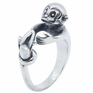 モンキー&バナナステンレスリング(RHO058)サイズ/25号/26号/27号/28号/29号/30号 動物 猿 サル 果物 フルーツ フリーサイズ 指輪 サー