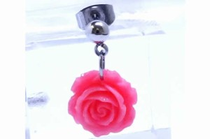 ローズチャームステンレスピアス(ピンク)/1個販売 バラ 薔薇 花 フラワー サージカルステンレス メンズ レディース 20G 20ゲージ 耳 軟