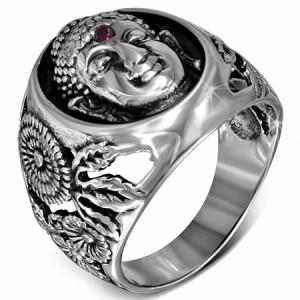 釈迦ステンレスリング(RMT432)サイズ/18号/31号 仏様 ブッダ 神様 印台型 おもしろ ユニーク 指輪 サージカルステンレス316L メン