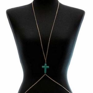 ターコイズロザリオペンダントボディチェーン クロス 十字架 トルコ石 インディアンジュエリー ボヘミアン クサリ 鎖 ウエストチェーン