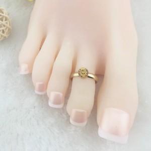 トパーズジュエルトゥリング ゴールド 金色 ラインストーン ジルコニア 足の指輪 トーリング 足のリング ピンキーリング フリーサイズ レ