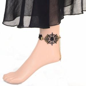 ドレスアンクレット(スパイダー) くも 蜘蛛の巣 クモ ゴスロリ 刺繍 レース アンティーク ゴシック ロリータ レディース 衣装 ブレスレ