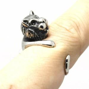 キングオブビーストステンレスリング(VRD075)サイズ/15号/16号/17号/18号/19号/20号/21号 おもしろ 3D フリーサイズ アニマル 動物 指