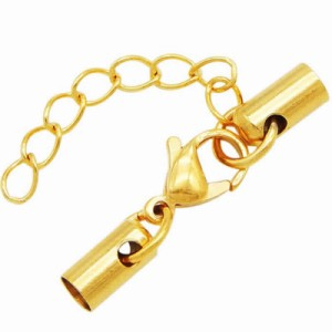 ゴールド5.0mmコード用ステンレスエンドパーツ2個カニカンステンレスパーツ1個ステンレスアジャスターチャーム付き/1セット販売 ネックレ