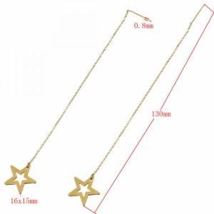 ゴールドスターステンレスチェーンピアス 1個販売 ステンレス304 星 金メッキ ラメ アメリカンピアス ステンレスピアス