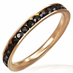 ピンクゴールドエタニティジュエルリング(ブラック)(TRM037)サイズ/21号 細身 スリム ジルコニアが1周する指輪 サージカルステンレ