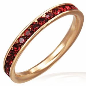 ピンクエタニティジュエルリング(ダークレッド)(TRM038)サイズ/18号/23号 ピンクゴールド 指輪 レディース ジルコニア 赤 プレゼント