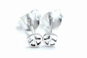 ピースマークスタッドピアス/1ペア 平和のシンボル 小さい スモールサイズ 20G 20ゲージ 両耳 シルバー925 スターリングシルバー シルバ