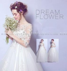 即納 ウェディングドレス  ストーン flower ドレス カラードレス キラキラ 結婚式 披露宴 刺繍/ プリンセスライン/二次会