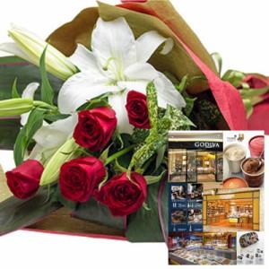 還暦祝い 誕生日プレゼント 結婚祝い 退職 お祝い 父 母 結婚記念日 10周年 生花ユリ バラ レッド 花束とカタログギフトセットグルメ・