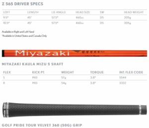 左用 スリクソン Z565 ドライバー MIYAZAKI KAULA MIZU 5 カーボンシャフト US仕様