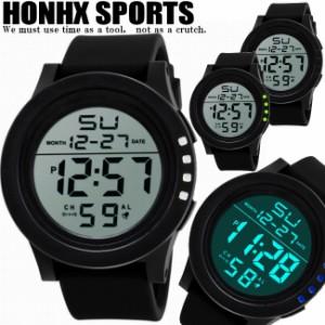 【ランキング1位】【見やすい大きな文字盤】HONHXスポーツデジタルウォッチ 腕時計/ストップウオッチ ラップタイム アラーム 日付時刻一