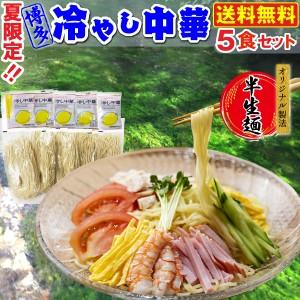 冷やし中華 博多 夏限定 冷たい 特製レモンつゆ付き 5食セット 半生麺 メール便 送料無料