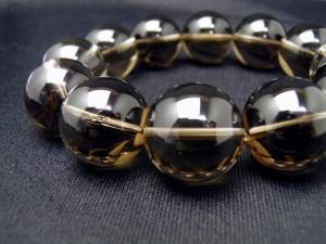 【ENDLESS_18mmブレスレット】 スモーキークォーツ 大玉シンプルブレスレット 数珠 ブレスレット メンズ 男性用 天然石 パワーストーン