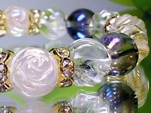 薔薇彫ローズクォーツ・ブルーオーラ コスモオーラ・水晶人気天然石 天然石 ブレスレット パワーブレス 数珠 パワーストーン 開運  男性