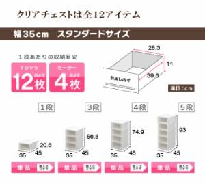 【送料無料】収納ケース 4段 プラスチック製 引き出し 日本製《お徳用2個セット》【クリアチェストC620-4】奥行45cm 幅62cm 服 押入れ