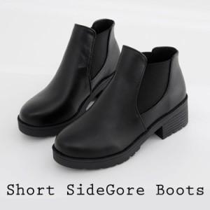ブーツ サイドゴアブーツ レディース ラウンド サイドゴア 厚底 ショート レザー 黒 ブラック 韓国 ファッション