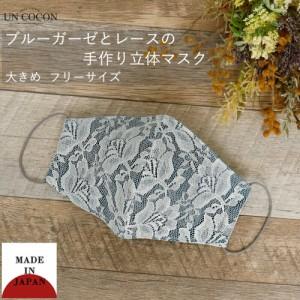 布マスク 大人マスク 立体 レース 花柄 大きめ立体 日本製 綿 肌に優しい ブルーガーゼ 送料無料 メール便2ポイント