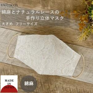 布マスク 大人マスク 立体 レース 綿さ 大きめ立体 日本製 綿 敏感肌 肌に優しい 送料無料 メール便2ポイント